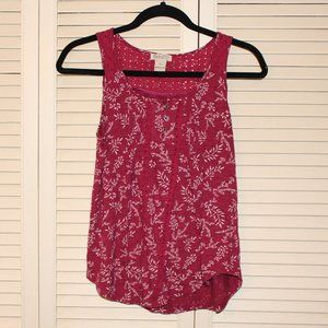 Maroon Floral Lucky Brand® Printed Henley Tank